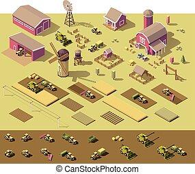 isometric, elementos, fazenda, poly, vetorial, baixo