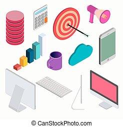 isometric, elementos, jogo, negócio