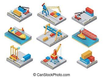 isometric, elementos, jogo, porto, mar