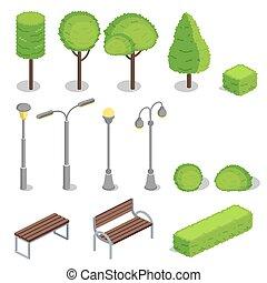isometric, elementos, parque, ilustração, vetorial, 3d