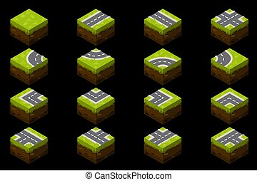 Isometric elements of a ground road with grass for the street.