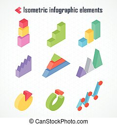 isometric elements of infographics - Isometric 3d vector...