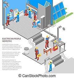 isometric, eletricista, composição