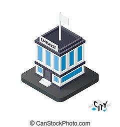 Isometric embassy icon, building city infographic element, vector illustration