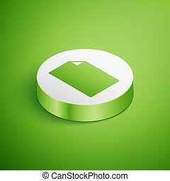 Isometric Empty document icon isolated on green background. Checklist icon. Business concept. White circle button. Vector