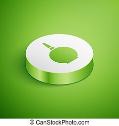 Isometric Enema icon isolated on green background. Enema with a plastic tip. Medical pear. White circle button. Vector Illustration