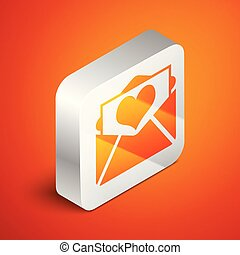 Isometric Envelope with Valentine heart icon isolated on orange background. Letter love and romance. Silver square button. Vector Illustration