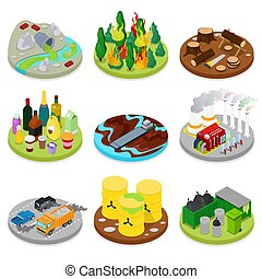 Isometric Environmental Pollution Set. Chemical Waste. Dirty Water. Industrial Building. Vector flat 3d illustration