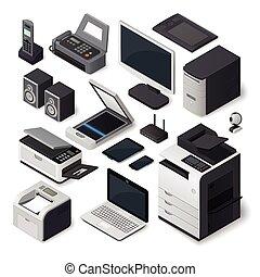 isometric, equipamento escritório, vetorial, set.