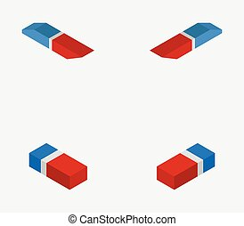 isometric eraser icon illustrated in vector on white background