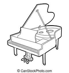 isometric, esboço, estilo, grandioso, ícone, piano