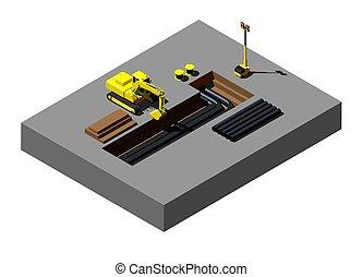 isometric, escavador, amarela, local., vetorial, ilustração, construção