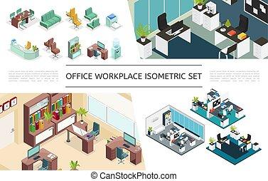 isometric, escritório, interiores, cobrança