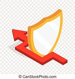 isometric, escudo, proteção, seta, vermelho, ícone