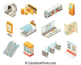 isometric, estação, jogo, metro, elementos