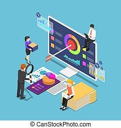 isometric, estatísticas, analisando, pessoas negócio