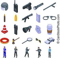 isometric, estilo, ícones, jogo, equipamento, polícia