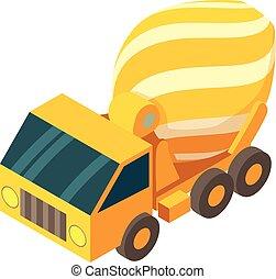 isometric, estilo, misturador, concreto, caminhão, ícone, 3d