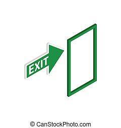 isometric, estilo, sinal, verde, ícone, saída, 3d