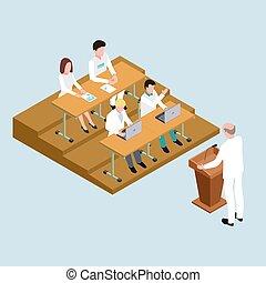 isometric, estudantes, escola médica, ilustração, vetorial, proffessor