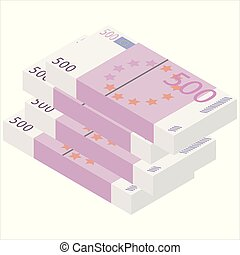 Isometric euro banknotes