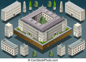 Isometric European historic building - Detailed illustration...