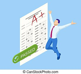 Isometric Exam sheet with A plus grade, flat design. The joy of a good exam result. The exam is passed