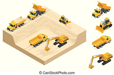 Isometric excavators and bulldozers dig a pit on the sand quarry.