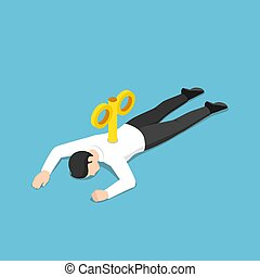Isometric exhausted businessman with wind-up key lying on the floor
