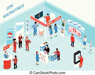 Isometric Expo Illustration - People visiting health and...