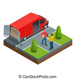 Isometric Express Delivery concept. Man accepting a delivery of boxes from a deliveryman. Vector illustration