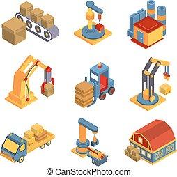 isometric, fábrica, símbolos, maquinaria, robotic, fluxograma