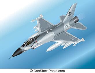 Isometric F-16 Fighter Jet