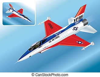 Detailed Isometric Vector Illustration of F-16 Falcon Jet Fighter Plane