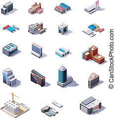 Vector isometric industrial and business buildings for map creation