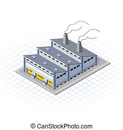 This image is a factory building with smoke vector illustration