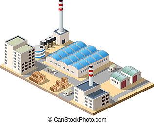Isometric factory consists of a hangar, boiler, boiler room...