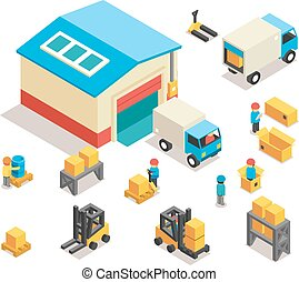 Isometric factory distribution warehouse building with trucks, electric trolleys and goods. Vector 3d icons set