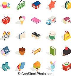 isometric, família, ícones, jogo, estilo, amigável