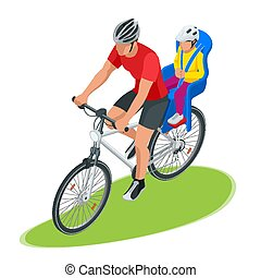 Isometric family biking. Young father safety helmet with toddler strapped child seat his bicycle. Bicycle with plastic child seat.
