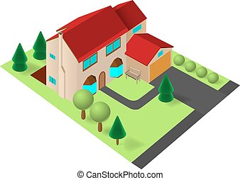 Isometric family house with garage.