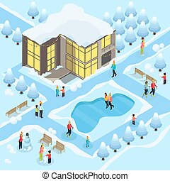 Isometric Family On Winter Holidays Template