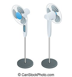 Isometric Fan. Home climate equipment isometric icon. Air Cooling.