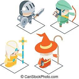 isometric, fantazie, rpg, hra, charakter, vektor, ikona, dát, ilustrace