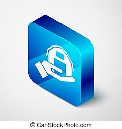 Isometric Farm house in hand icon isolated on grey background. Blue square button. Vector