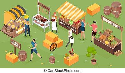 Isometric Farm Market Composition