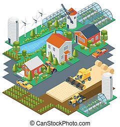 Isometric farm scene. Village setting with buildings,...