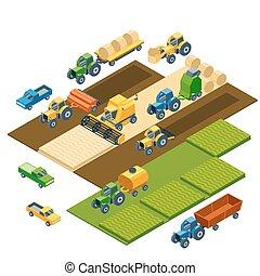 isometric, fazenda, tratores, equipamento, combain, reboques, pickup, agrícola