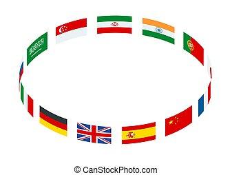 isometric, feito, quadro, isolado, ilustração, vetorial, bandeiras, mundo, redondo