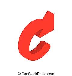isometric, felfrissít, nyíl, 3, piros, ikon